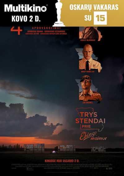 Oskarų vakaras : Trys stendai prie ebingo, misūryje (Three Billboards Outside Ebbing, Missouri)